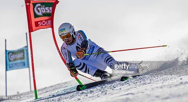 Felix Neureuther of Germany during the Audi FIS Ski World Cup men's giant slalom race on the Rettenbach Glacier on 25 October 2015 in Soelden Austria