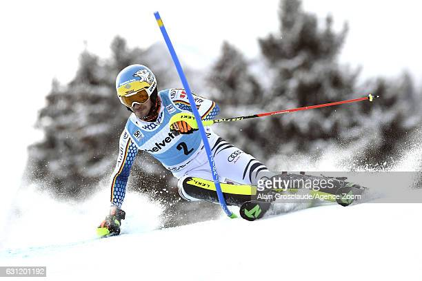 Felix Neureuther of Germany in action during the Audi FIS Alpine Ski World Cup Men's Slalom on January 08 2017 in Adelboden Switzerland