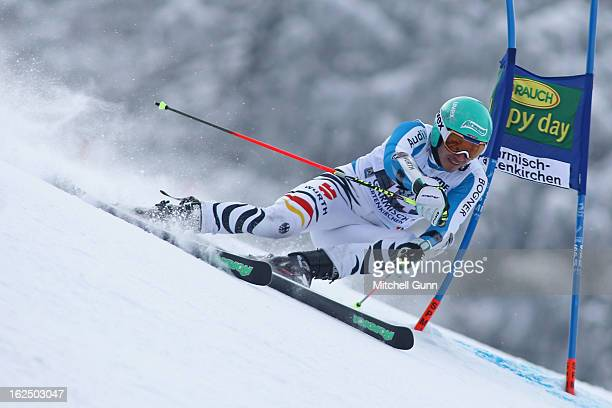 Felix Neureuther of Germany races down the course whilst competing in the Audi FIS Alpine Ski World Cup Men's Giant Slalom on February 24 2013 in...