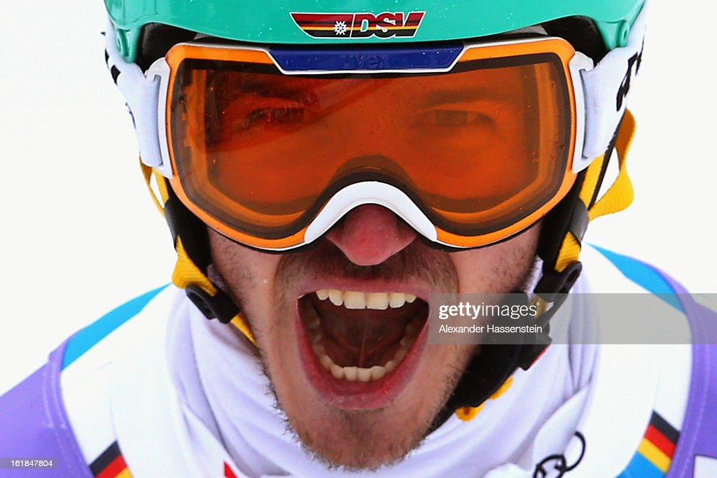 Felix Neureuther of Germany reacts in the finish area after skiing in the Men's Slalom during the Alpine FIS Ski World Championships on February 17, 2013 in Schladming, Austria.