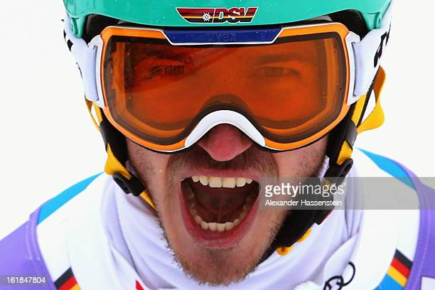 Felix Neureuther of Germany reacts in the finish area after skiing in the Men's Slalom during the Alpine FIS Ski World Championships on February 17...