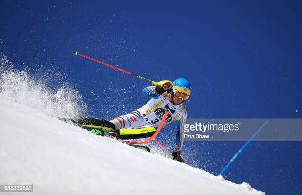 Felix Neureuther of Germany skis his second run in the men's slalom during the 2017 Audi FIS Ski World Cup Finals at Aspen Mountain on March 19 2017...