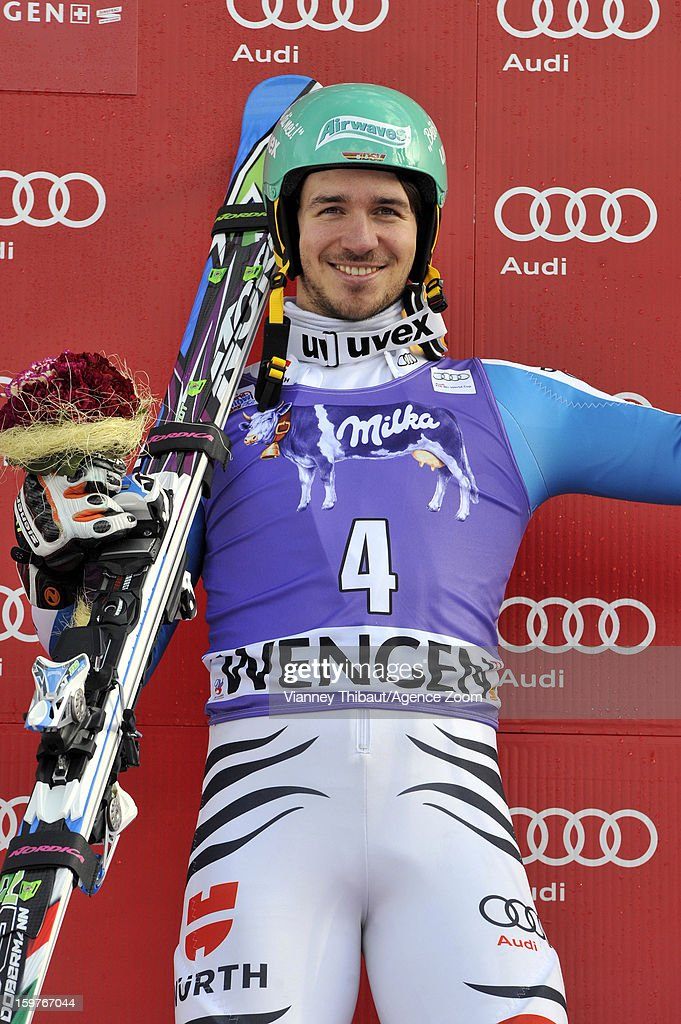 Felix Neureuther of Germany takes 1st place during the Audi FIS Alpine Ski World Cup Men's Slalom on January 20, 2013 in Wengen, Switzerland.