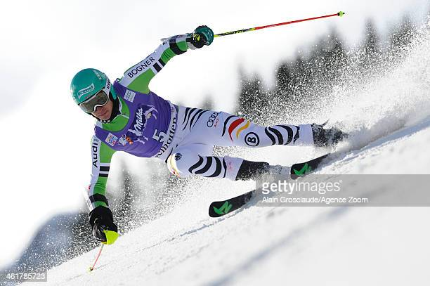 Felix Neureuther of Germany takes 1st place during the Audi FIS Alpine Ski World Cup Men's Giant Slalom on January 11 2014 in Adelboden Switzerland