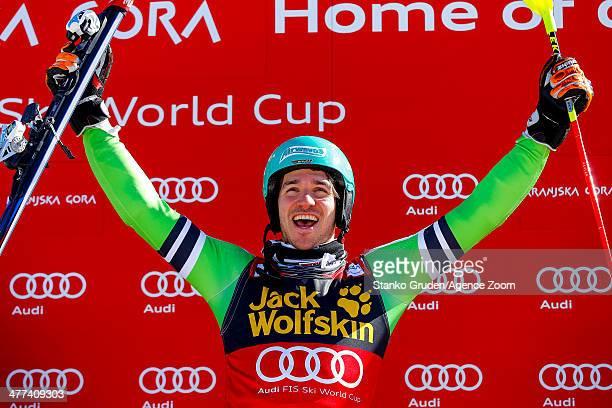 Felix Neureuther of Germany takes 1st place during the Audi FIS Alpine Ski World Cup Men's Slalom on March 09 2014 in Kranjska Gora Slovenia