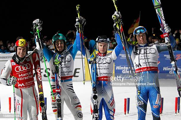 Felix Neureuther of Germany takes 1st place Marcel Hirscher of Austria takes 2nd place Alexis Pinturault of France takes 3rd place and Andre Myhrer...