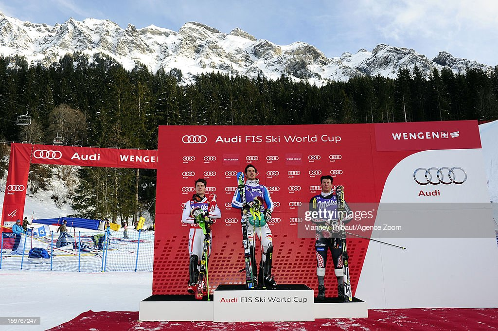 Felix Neureuther of Germany takes 1st place, Marcel Hirscher of Austria takes 2nd place, Ivica Kostelic of Croatia takes 3rd place during the Audi FIS Alpine Ski World Cup Men's Slalom on January 20, 2013 in Wengen, Switzerland.