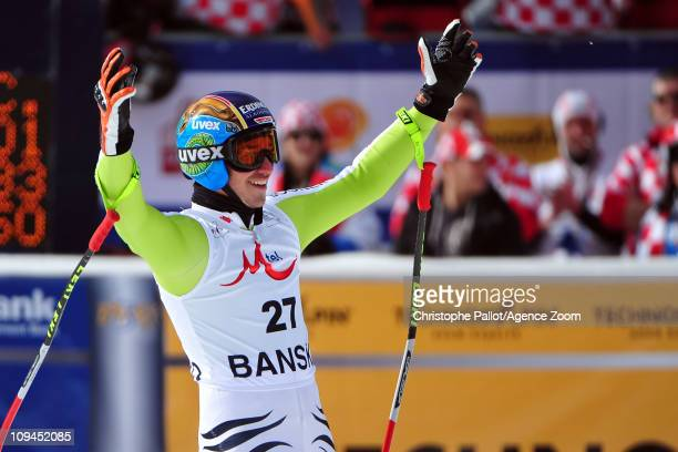 Felix Neureuther of Germany takes 2nd place during the Audi FIS Alpine Ski World Cup Men's Super Combined on February 26 2011 in Bansko Bulgaria