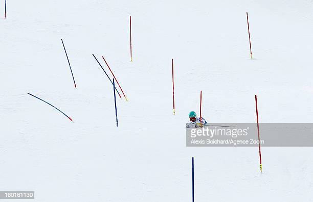 Felix Neureuther of Germany takes 2nd place during the Audi FIS Alpine Ski World Cup Men's Slalom on January 27 2013 in Kitzbuehel Austria