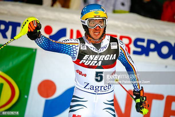 Felix Neureuther of Germany takes 2nd place during the Audi FIS Alpine Ski World Cup Men's Slalom on January 05 2017 in Zagreb Croatia