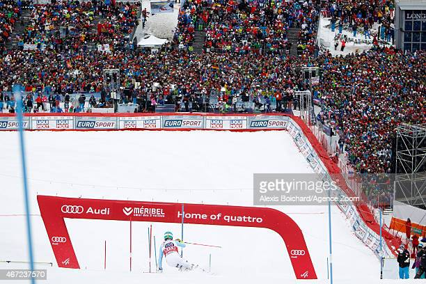 Felix Neureuther of Germany takes 2nd place in the overall Slalom World Cup during the Audi FIS Alpine Ski World Cup Finals Men's Slalom on March 22...