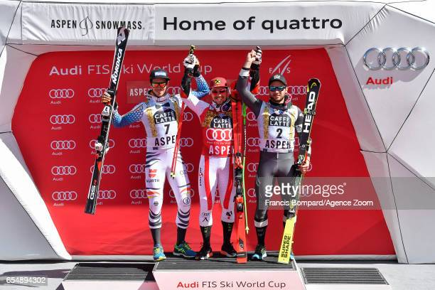 Felix Neureuther of Germany takes 2nd place Marcel Hirscher of Austria takes 1st place Mathieu Faivre of France takes 3rd place during the Audi FIS...