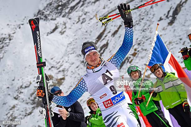 Felix Neureuther of Germany takes 3rd place during the Audi FIS Alpine Ski World Cup Men's Giant Slalom on October 23, 2016 in Soelden, Austria