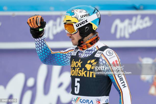 Felix Neureuther of Germany takes 3rd place during the Audi FIS Alpine Ski World Cup Men's Slalom on March 05 2017 in Kranjska Gora Slovenia