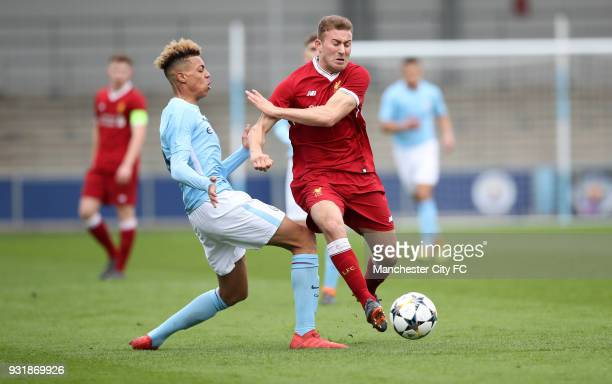 Felix Nmecha of Manchester City and Herbie Kane of Liverpool during the UEFA Youth League QuarterFinal at Manchester City Football Academy on March...