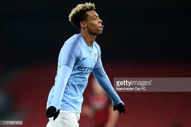 Felix Nmecha of Manchester City celebrates after scoring his team's first goal during the FA Youth Cup 6th Round match between AFC Bournemouth and...