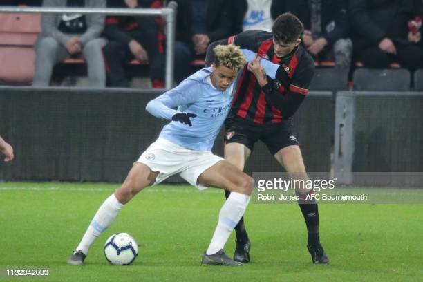 Felix Nmecha of Manchester City holds off Zeno Ibsen Rossi of Bournemouth during the FA Youth Cup match between AFC Bournemouth U18 and Manchester...