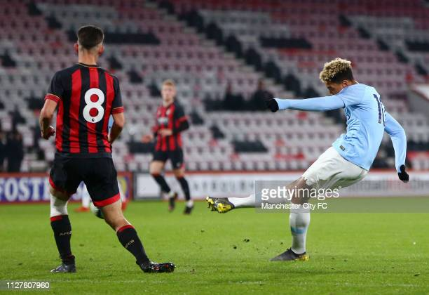 Felix Nmecha of Manchester City scores his team's first goal during the FA Youth Cup 6th Round match between AFC Bournemouth and Manchester City at...
