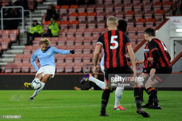 Felix Nmecha of Manchester City scores his team's first goal during the FA Youth Cup Sixth Round Match between AFC Bournemouth U18 and Manchester...