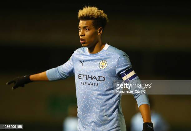 Felix Nmecha of Manchester City U21 in action during the EFL Trophy match between Lincoln City and Manchester City U21 at Sincil Bank Stadium on...
