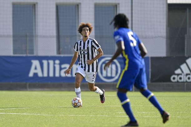 Felix Nzouango of Juventus during the UEFA Youth League match between Juventus U19 and Chelsea FC U19 at Juventus Center Vinovo on September 29, 2021...