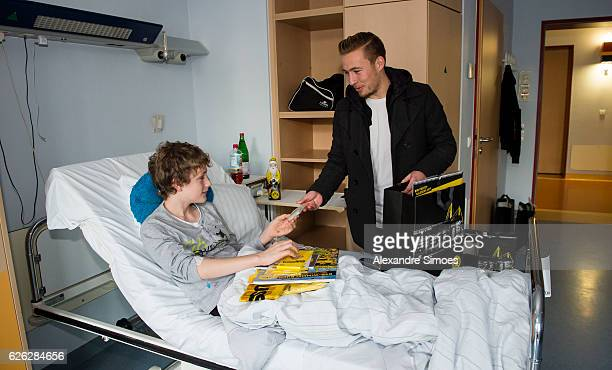 Felix Passlack is seen during the annual visit of Borussia Dortmund at the children's hospital on November 28 2016 in Dortmund Germany