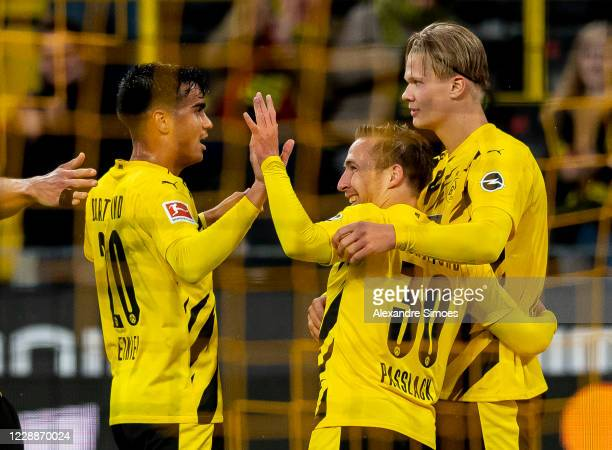 Felix Passlack of Borussia Dortmund celebrates scoring his goal to the 40 during the Bundesliga match between Borussia Dortmund and SportClub...