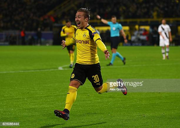 Felix Passlack of Borussia Dortmund celebrates scoring his teams seventh goal during the UEFA Champions League Group F match between Borussia...