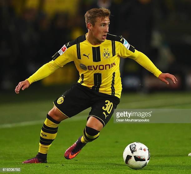 Felix Passlack of Borussia Dortmund in action during the Bundesliga match between Borussia Dortmund and FC Schalke 04 at Signal Iduna Park on October...