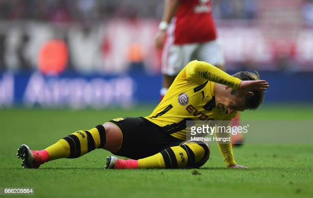 Felix Passlack of Borussia Dortmund reacts during the Bundesliga match between Bayern Muenchen and Borussia Dortmund at Allianz Arena on April 8 2017...