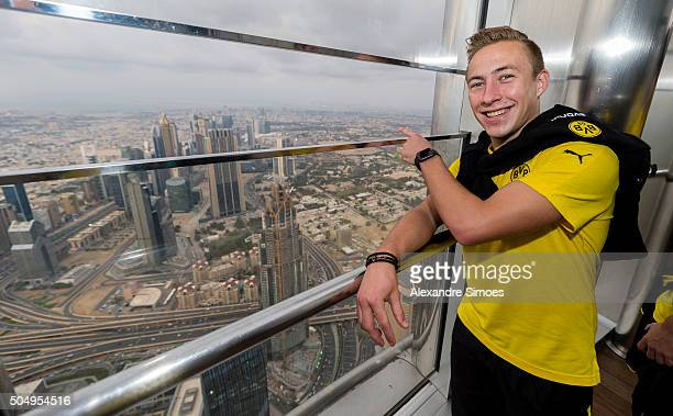 Felix Passlack of Borussia Dortmund visits the Burj Khalifa during Borussia Dortmund's training camp on January 13 2016 in Dubai United Arab Emirates
