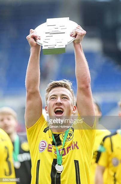 Felix Passlack of Dortmund celebrates after the A Juniors German Championship Final match between 1899 Hoffenheim U19 and Borussia Dortmund U19 at...