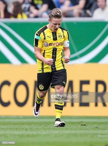 Felix Passlack of Dortmund celebrates his team's second goal during the A Juniors German Championship Final match between 1899 Hoffenheim U19 and...