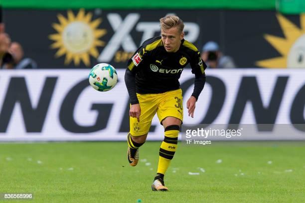 Felix Passlack of Dortmund controls the ball during to the Bundesliga match between VfL Wolfsburg and Borussia Dortmund at Volkswagen Arena on August...