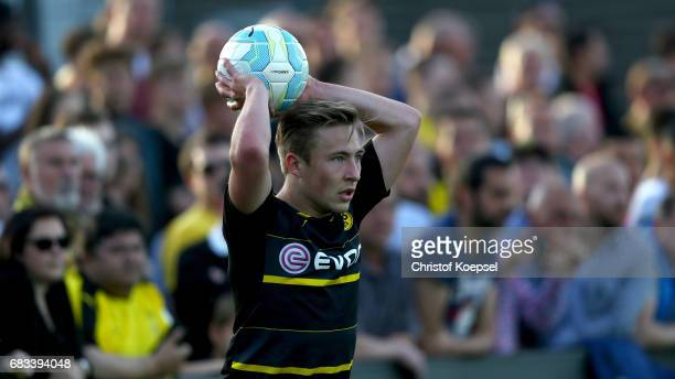 Felix Passlack of Dortmund does a throwin during the U19 German Championship Semi Final second leg match between Borussia Dortmund and VfL Wolfsburg...