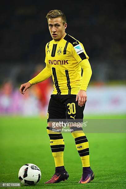 Felix Passlack of Dortmund in action during the Bundesliga match between Borussia Dortmund and FC Schalke 04 at Signal Iduna Park on October 29 2016...