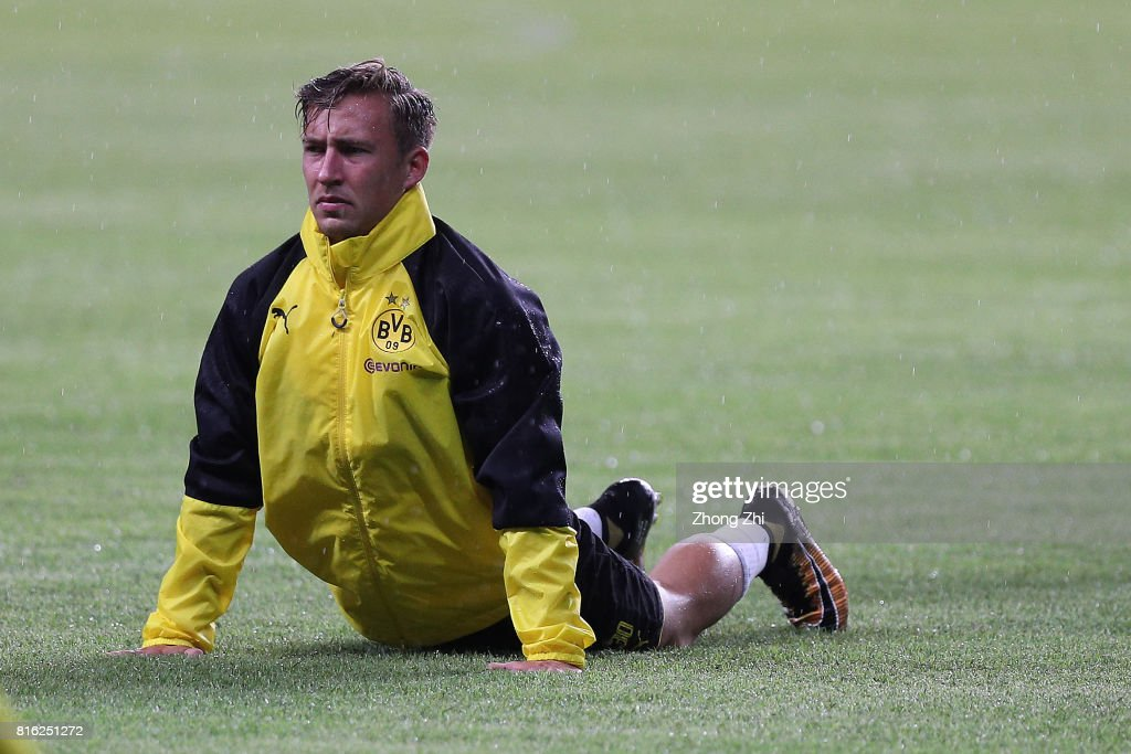 Felix Passlack of Dortmund in action during training session ahead of the 2017 International Champions Cup football match between AC Milan and Borussia Dortmund at University Town Sports Centre Stadium on July 17, 2017 in Guangzhou, China.