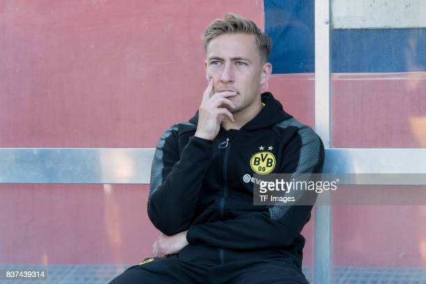 Felix Passlack of Dortmund looks on during a friendly match between Espanyol Barcelona and Borussia Dortmund as part of the training camp on July 28...