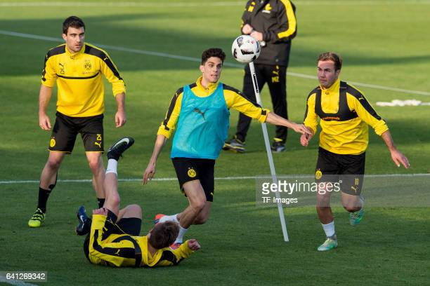 Felix Passlack of Dortmund Marc Bartra of Dortmund and Mario Goetze of Dortmund battle for the ball during the fifth day of the training camp in...