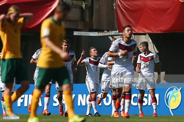 Felix Passlack of Germany celebrates his team's first goal during the FIFA U17 World Cup Chile 2015 Group C match between Australia and Germany at...