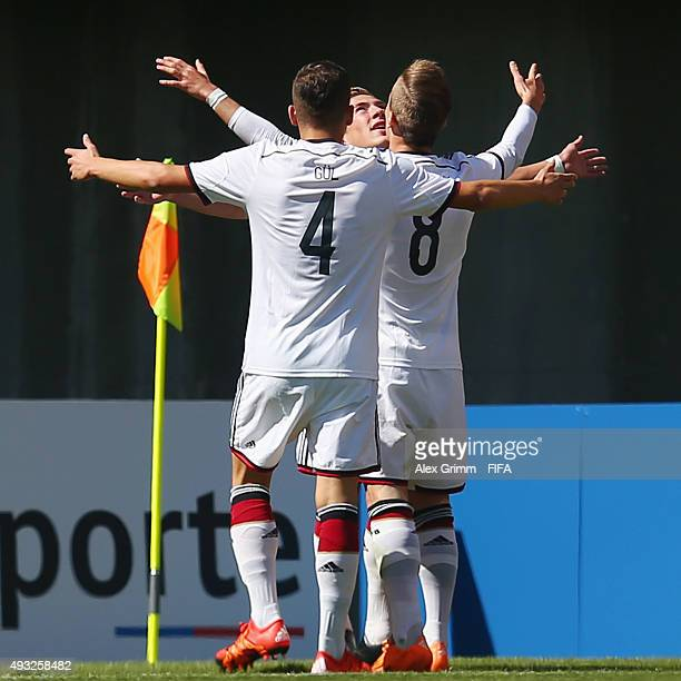 Felix Passlack of Germany celebrates his team's first goal with team mates Goekhan Guel and Niklas Dorsch during the FIFA U17 World Cup Chile 2015...