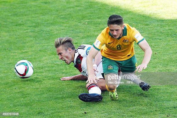 Felix Passlack of Germany is challenged by Jake Brimmer of Australia during the FIFA U17 World Cup Chile 2015 Group C match between Australia and...