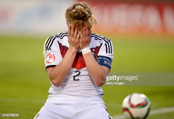 Felix Passlack of Germany U17 reacts after missing during the UEFA European Under17 Championship Semi Final match between Germany U17 and Russia U17...