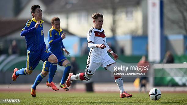 Felix Passlack of Germany vies for the ball during the UEFA Under 17 Elite Round match between Germany and Ukraine at Georg-Gassmann-Stadion on March...