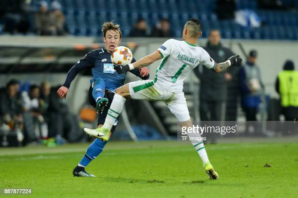 Felix Passlack of Hoffenheim and Natanael of Ludogorets battle for the ball during the UEFA Europa League group C match between 1899 Hoffenheim and...
