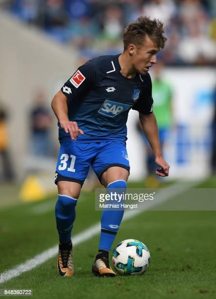 Felix Passlack of Hoffenheim controls the ball during the Bundesliga match between TSG 1899 Hoffenheim and Hertha BSC at Wirsol RheinNeckarArena on...