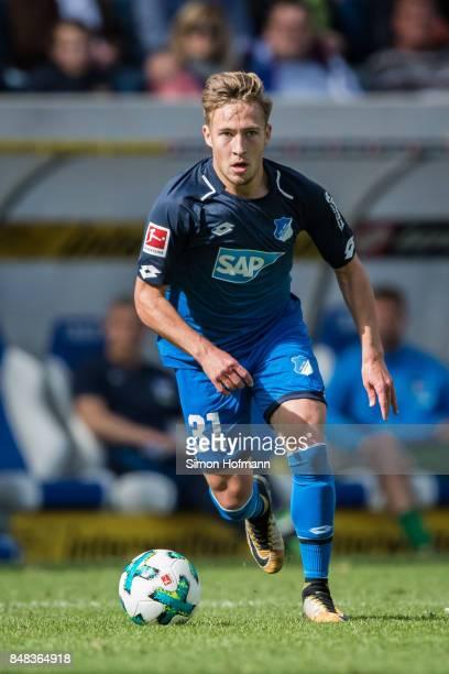 Felix Passlack of Hoffenheim in action during the Bundesliga match between TSG 1899 Hoffenheim and Hertha BSC at Wirsol RheinNeckarArena on September...