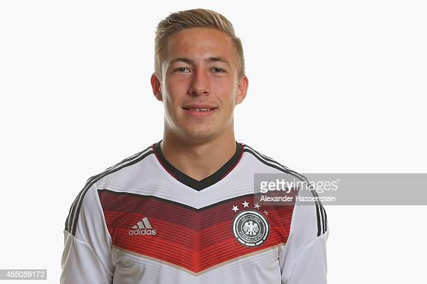 Felix Passlack of the German national team poses during the team presentation of U17 Germany on September 9 2014 in Abensberg Germany