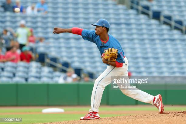 Felix Paulino of the Threshers delivers a pitch to the plate during the Florida State League game between the Daytona Tortugas and the Clearwater...
