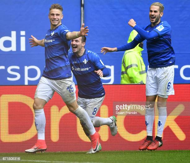 Felix Platte of Darmstadt celebrates scoring the second goal during the Bundesliga match between Hamburger SV and SV Darmstadt 98 at Volksparkstadion...